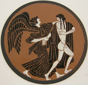 painted enamel Eos and Tithonus