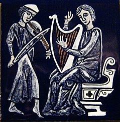 grisaille enamel medieval tile musicians