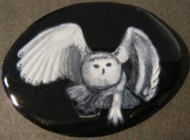grisaille enamel spirit owl Blodeuwedd