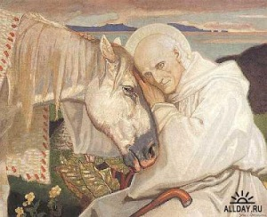 St Columba Bidding Farewell To The White Horse 1925 by John Duncan
