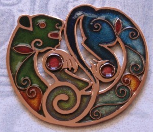 Champleve Cat by Catherine Crowe enamel, copper, copper cloisonne wire